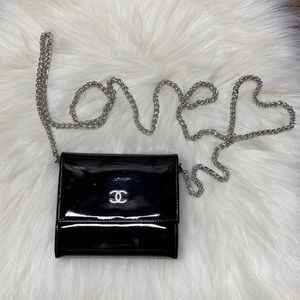 CHANEL Patent Leather Wallet On Chain